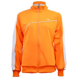 LI-NING 李宁 运动服女款开衫卫衣夏季透气羽毛球服团购可印字AWDJ728-3 橘黄色 XL