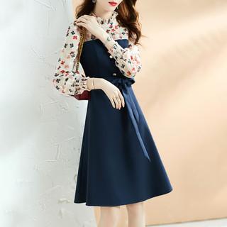 XWI 21秋季新款百搭舒适优雅时尚裙子气质拼接中长款女式显瘦连衣裙