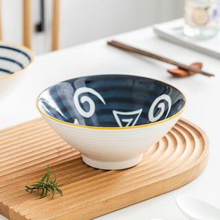 竹木本记 日式面碗 釉下彩 7英寸