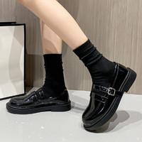 WARRIOR 回力 小皮鞋新款女英伦风秋季平底单鞋女薄款黑色鞋子女乐福鞋女