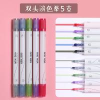 chanyi 创易 圆杆双头荧光标记笔 淡色系 5支装