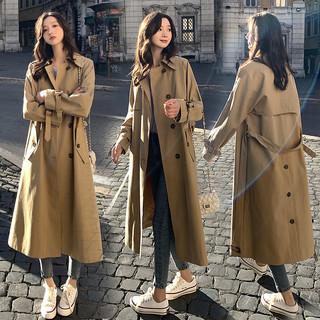 风衣女中长款2021春秋新款英伦卡其色修身显瘦小个子收腰外套大衣