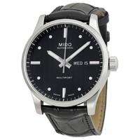 MIDO 美度 Mido Multifort Automatic Black Dial Black Leather Mens Watch M0054301603101 直邮含税