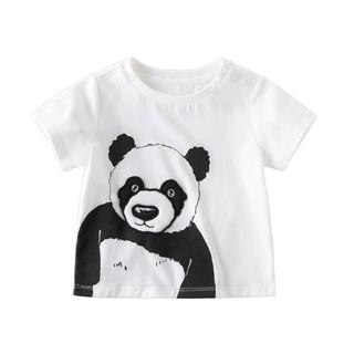DAVE&BELLA 戴维贝拉 夏装新款男童卡通熊猫T恤宝宝纯棉短袖儿童上衣
