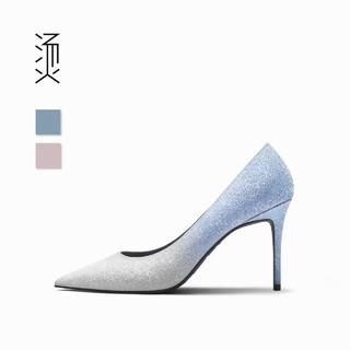 feverish 烫 社交女鞋天蓝色渐变闪钻牛皮细高跟鞋尖头水晶亮片婚鞋伴娘单鞋