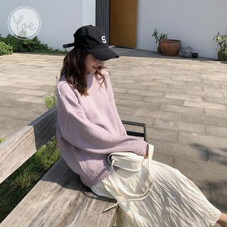 TONLION 唐狮 yoe森系宽松文艺韩版套头慵懒小个子百搭针织短款洋气紫色毛衣女
