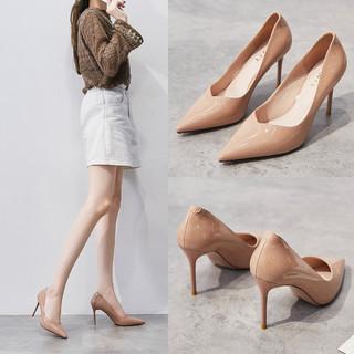 Cover 卡文 秋季软底单鞋女尖头浅口女单鞋高跟鞋女细跟婚鞋潮