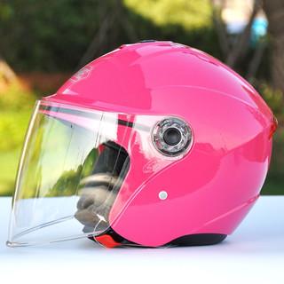 永恒 头盔电动摩托头盔电动车男女式半盔电瓶车四季安全帽防晒单镜片 玫红色 M