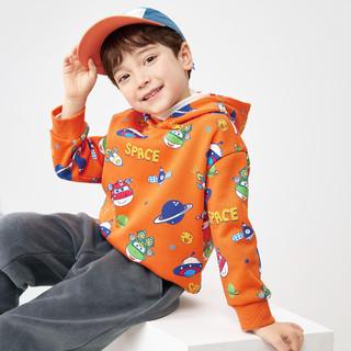 balabala 巴拉巴拉 男童卫衣儿童上衣童装2021冬装新款加绒宽松连帽外套