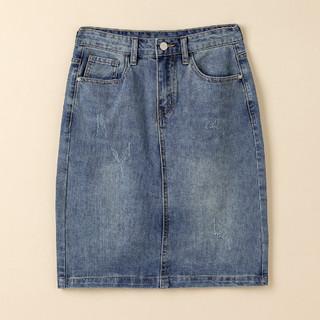 HLA 海澜之家 复古牛仔半身裙女秋季2021新款高腰显瘦气质短款包臀裙