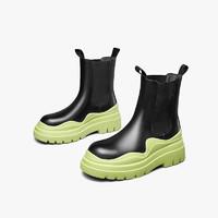 YEARCON 意尔康 真皮厚底马丁靴短靴女2021春秋新款牛油果绿切尔西烟筒靴子