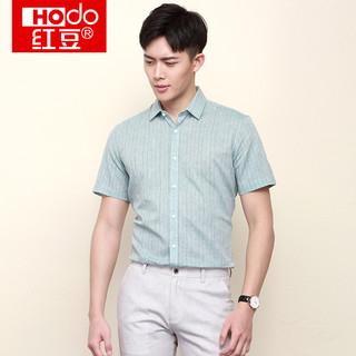 Hodo 红豆 HODO红豆男装男士短袖衬衫 夏季男士商务休闲条纹修身棉麻短袖衬衫
