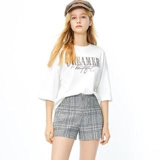 ONLY 秋季时尚小香风格子直筒时尚短裤女|120115505