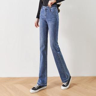 YERAD 娅丽达 高腰微喇牛仔裤女长裤2021秋款韩版时尚修身显瘦喇叭裤子女潮