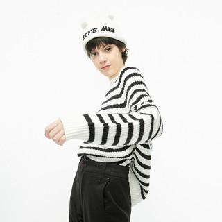 ONLY 秋季时尚圆领宽松条纹毛衣针织衫女 120113503