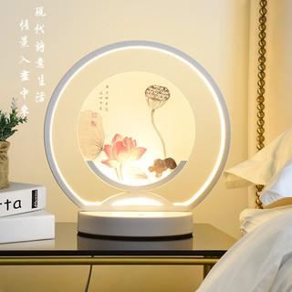 优丽美家 新中式台灯卧室床头灯可调光现代简约温馨创意床头柜灯 荷塘月色(纯洁白色) 调光开关
