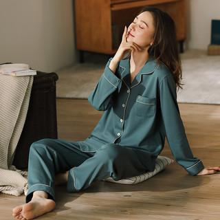 睡衣女2021年新款长袖长裤春秋两件套七件套带胸垫男可外穿家居服