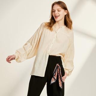 ONLY 秋季气质宽松前短后长袖纯色立领衬衫女