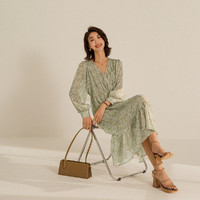 ANNE KLEIN 安妮·克莱因 碎花雪纺连衣裙女2021年秋季新款法式复古气质度假风裙子