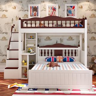 格杰 儿童床实木柱上下双层床高低床成年交错式子母床1.5m上下铺床 上铺+1.5米储物床+书桌+梯柜 上铺1000*1900mm