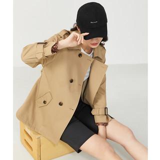 YINER 音儿 女装2021新款时尚洋气双排扣中长款风衣外套女 驼色 38