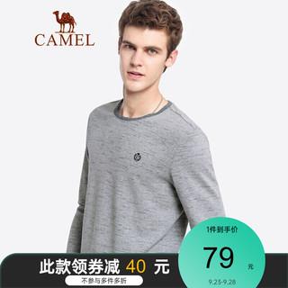 CAMEL 骆驼 男装 2021秋季新款纯色长袖t恤男士休闲纯棉刺绣体恤打底衫 B款 花灰 XXL