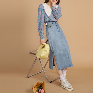 QIGEGE 七格格 半身裙女2021年新款a字高腰包臀春夏季牛仔裙子