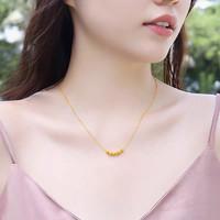 sheng jue 盛爵 女款3D硬金幸运珠挂坠(一金珠套链)