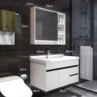 OUDINU 欧帝奴 实木浴室柜现代简约卫浴柜镜柜卫生间洗脸盆洗手盆柜组合卫浴套装洗手台池洗漱台组合柜套装