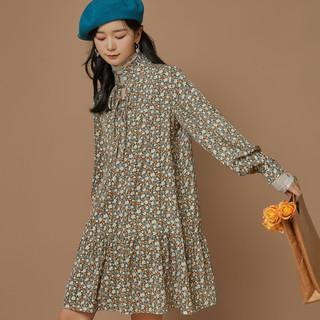 QIGEGE 七格格 连衣裙女2021年新款法式碎花春秋长袖打底裙子