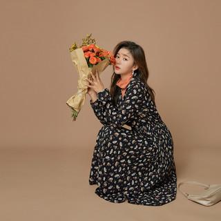 QIGEGE 七格格 连衣裙女2021年新款春季复古长袖法式显瘦碎花裙子