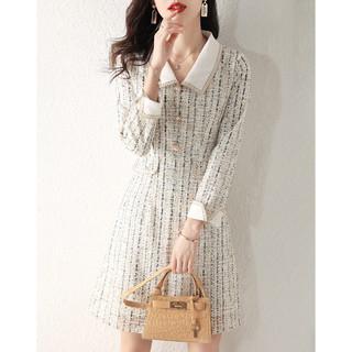 MSAY 2021春夏新款韩版小香风翻领长袖连衣裙女减龄淑女风裙子