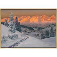 弘舍 阿洛伊斯·亚利格 风景山水油画《雪域之光》成品尺寸82x58cm 油画布 闪耀金