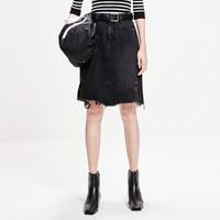 MO&Co. 摩安珂 纯棉散边黑色女装牛仔半身裙