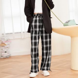 Semir 森马 女士宽松格子阔腿裤女高腰运动复古格纹休闲简约工装垂感长裤