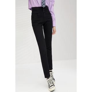 eifini 伊芙丽 何穗同款高腰牛仔裤女修身2021年新款黑色小脚裤显瘦裤子女