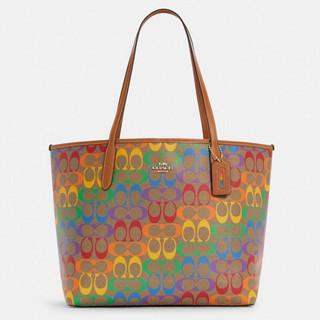 COACH 蔻驰 奢侈品 女士托特包单肩手提包卡其色PVC配皮 C4181 IMMU4