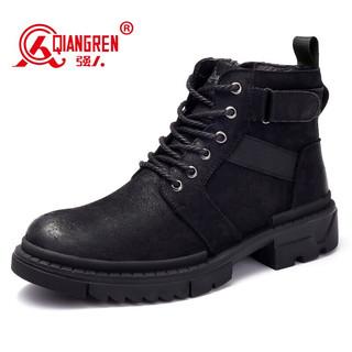 强人 马丁靴男头层牛皮透气耐磨复古户外靴子便捷侧拉链有型百搭男靴 JDA218031 黑色 42码