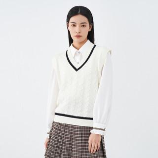 INMAN 茵曼 2021秋装新款女式撞色罗纹V领无袖针织马甲背心百搭毛衣上衣
