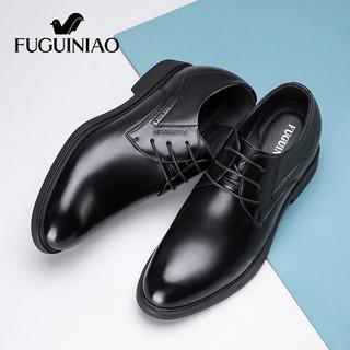 Fuguiniao 富贵鸟 男鞋商务正装皮鞋男简约英伦休闲牛皮系带内增高德比鞋男 FG01040051 黑色 42
