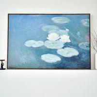 仟象映画 莫奈挂画 《夜晚的睡莲》90×60cm 现代简约欧式壁画 餐厅装饰画