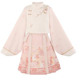 十三余 小豆蔻儿 桃夭兔 国风系带绣花仿马面下裙 SGF152501 粉色