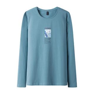 CAMEL 骆驼 男装 新款男士长袖t恤圆领纯色韩版潮流个性帅气上衣打底衫男
