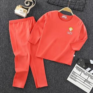 儿童内衣套装秋冬保暖宝宝秋衣秋裤长袖套装睡衣家居服 红色 120cm
