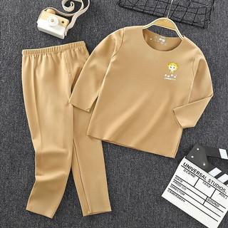 儿童内衣套装秋冬保暖宝宝秋衣秋裤长袖套装睡衣家居服 棕色 120cm