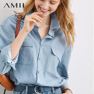 AMII Amii女装2021年春秋季新款夏季长袖白衬衫白衬衣寸衫初秋通勤上衣