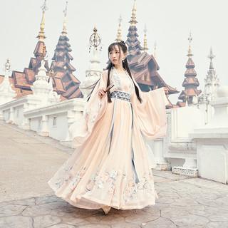 十三余 小豆蔻儿[桃夭]刺绣对襟上衫6米摆一片式齐腰下裙汉服