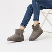 hotwind 热风 商场同款纯色简约加绒短靴百搭舒适平底女雪地靴