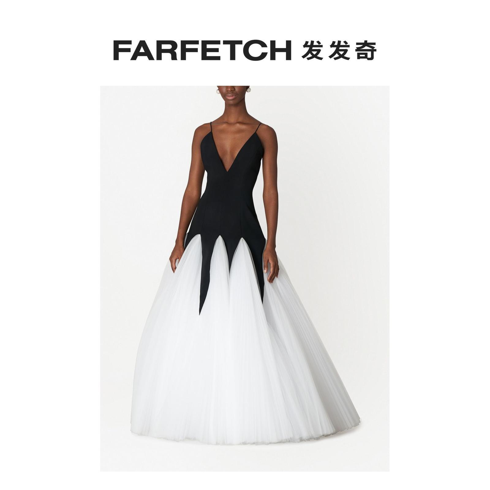 Carolina Herrera女士镂空薄纱分层式礼服FARFETCH发发奇 黑色