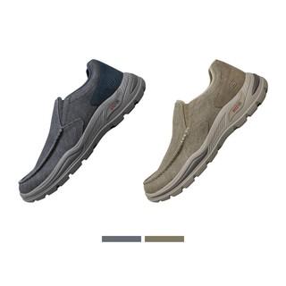 SKECHERS 斯凯奇 Skechers斯凯奇男士低帮一脚蹬懒人鞋复古简约休闲帆布鞋204178